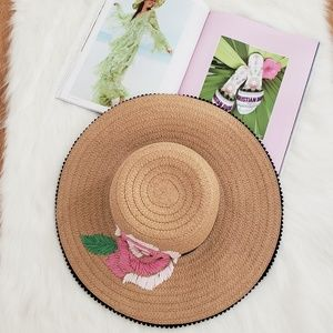 Betsey Johnson Floral Straw Hat